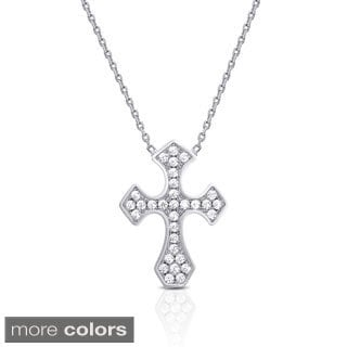 Dolce Giavonna Sterling Silver or Gold Over Sterling Silver Cubic Zirconia Cross Necklace