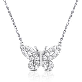 Dolce Giavonna Sterling Silver Cubic Zirconia Butterfly Necklace