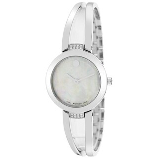 Movado Women's 'Amorosa' Mother of Pearl Dial Stainless Steel Diamond Bangle Swiss Quartz Watch