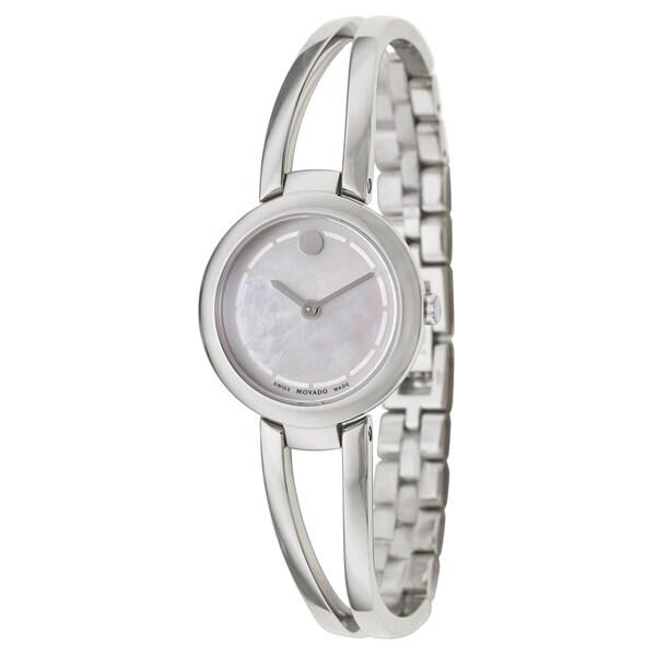 Movado Women X27 S Amorosa Round Silver Bracelet Watch