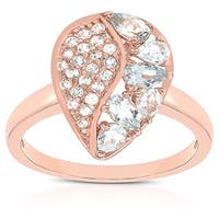 Dolce Giavonna Rose Gold Over Sterling Silver Blue Topaz and Cubic Zirconia Two-tone Teardrop Ring