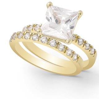 Dolce Giavonna Gold or Silver Overlay Cubic Zirconia Bridal Ring Set