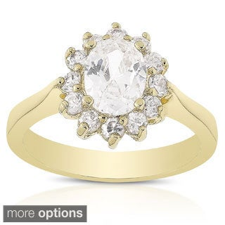 Dolce Giavonna 14k Gold Overlay Cubic Zirconia Engagement Ring