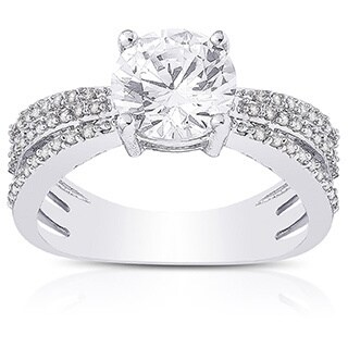Dolce Giavonna Silver Overlay Cubic Zirconia Engagement Ring
