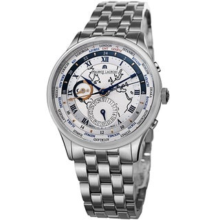 Maurice Lacroix Men's MP6008-SS002-111 'MasterPiece' Silver Dial Stainless Steel WorldTimer Watch