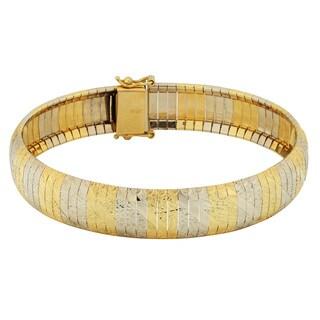 Fremada 14k Two-tone Gold 11.3-mm Textured Cubeto Bracelet