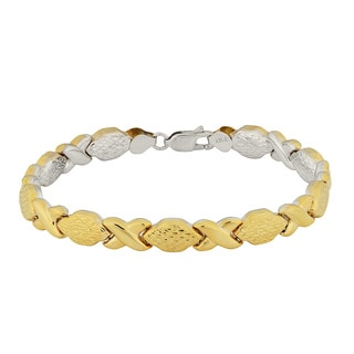 Fremada 14k Two-tone Gold Polished and Diamond-cut Reversible XO Bracelet