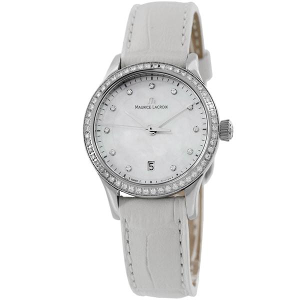 Maurice Lacroix Women's LC1113-SD501-170 'Les Classique' Mother of Pearl Diamond Dial White Strap Wa