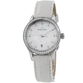 Maurice Lacroix Women's LC1113-SD501-170 'Les Classique' Mother of Pearl Diamond Dial White Strap Wa|https://ak1.ostkcdn.com/images/products/9673854/P16854369.jpg?impolicy=medium