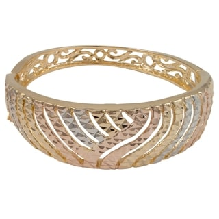 Luxiro Gold Finish Tri-color Etched Filigree Wide Bangle Bracelet