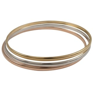 Luxiro Tri-color Brass Slim Stackable Endless Bangle Bracelet (Set of 3)