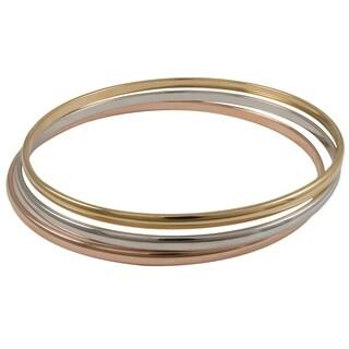 Luxiro Tri-color Brass Slim Stackable Endless Bangle Bracelet (Set of 3)