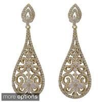 Luxiro Sterling Silver Cubic Zirconia Filigree Teardrop Bridal Earrings