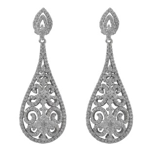 Luxiro Sterling Silver Cubic Zirconia Filigree Teardrop Bridal Earrings