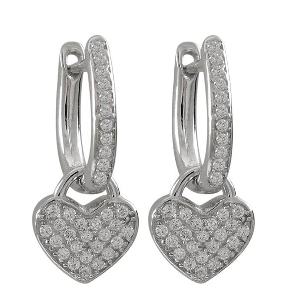 Luxiro Sterling Silver Pave Cubic Zirconia Heart Drop Earrings