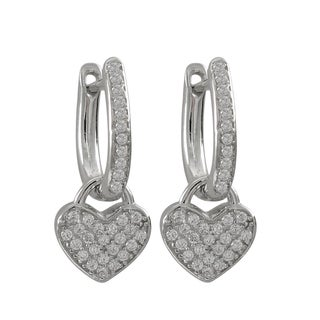 Luxiro Sterling Silver Pave Cubic Zirconia Heart Drop Earrings