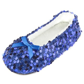 Leisureland Women's Metallic Sequined Slippers