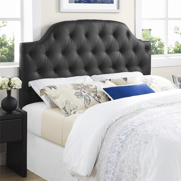 shop lyric black button tufted faux leather full queen headboard free shipping today. Black Bedroom Furniture Sets. Home Design Ideas