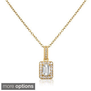 Gioelli 10k Gold Cubic Zirconia Rectangular Pendant Necklace