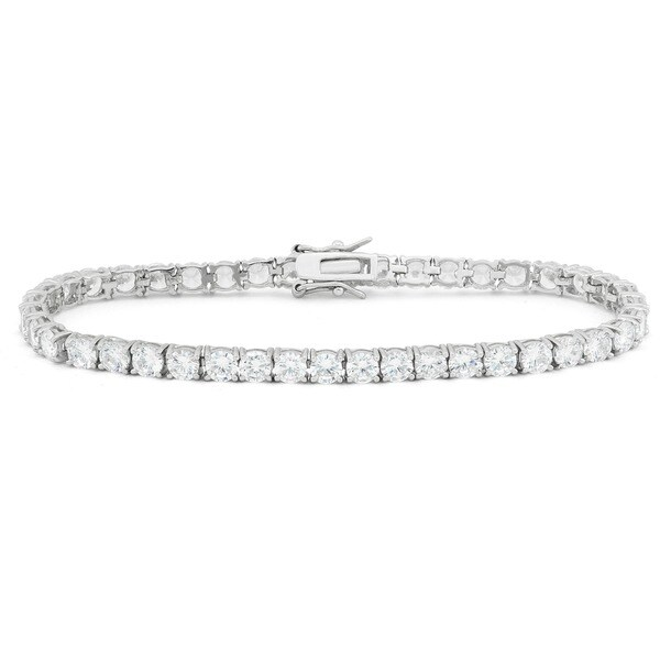 Gioelli Sterling Silver 10.5 TCW Round-cut Cubic Zirconia Tennis Bracelet