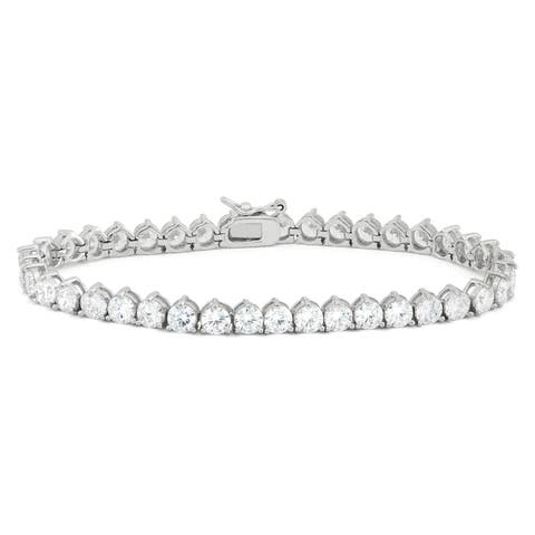 Gioelli Sterling Silver 13.68 TCW Round-cut Cubic Zirconia Tennis Bracelet