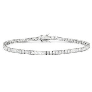 Gioelli Sterling Silver 6 4/5ct TGW Princess-cut Cubic Zirconia Tennis Bracelet