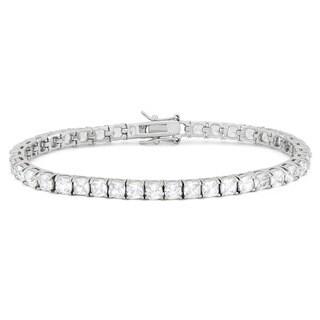 Gioelli Sterling Silver 10.5 TCW Cushion-cut Cubic Zirconia Tennis Bracelet