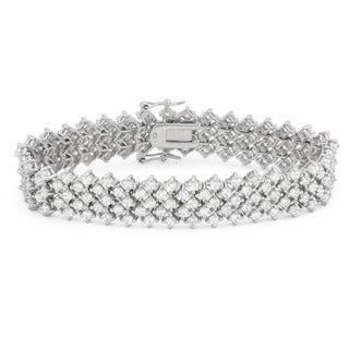Gioelli Sterling Silver 10.74 TCW Round-cut Cubic Zirconia Designer Bracelet