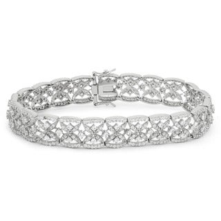 Gioelli Sterling Silver 6.35 TCW Round-cut Cubic Zirconia Designer Pattern Bracelet