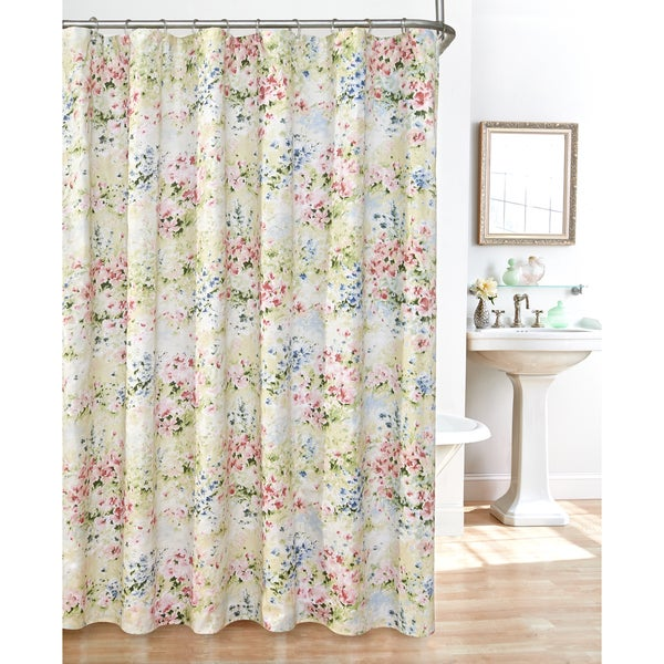 Shop Giverny Fabric Plisse Shower Curtain Set Free