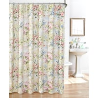 Giverny Fabric Plisse Shower Curtain Set