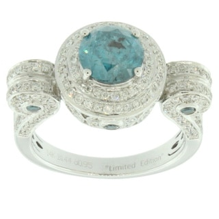 Suzy Levian Roman Pillar14k White Gold 2.51ct TDW Blue and White Diamond Ring (I2-I3, G-H, VS1-VS2, SI1-SI2)