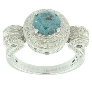Suzy Levian Roman Pillar14k White Gold 2.51ct TDW Blue and White Diamond Ring