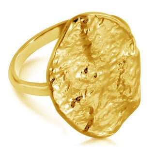 Belcho Oval Hammered Wave Plate Fashion Ring