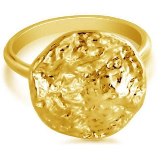Belcho Round Hammered Wave Plate Fashion Ring