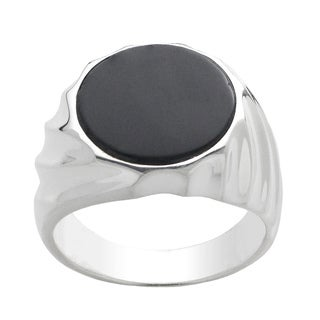 Gems For You Men's Sterling Silver Black Onyx Ring