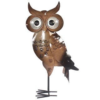 Handmade Small Iron Brown Standing Owl Decor (Indonesia)