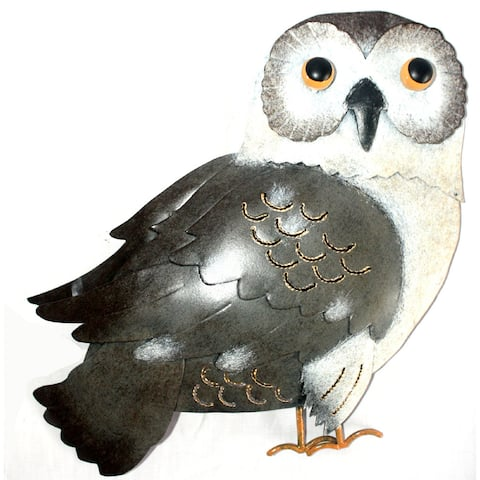 D-Art Collection Iron Black and White Owl Wall Decor