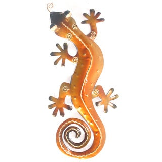 Small Iron Orange Gecko Wall Decor (Indonesia)