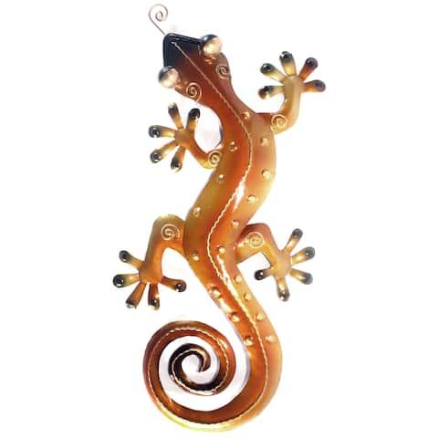 Handmade Medium Iron Orange Gecko Wall Decor (Indonesia)
