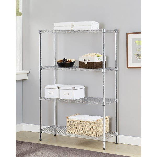 Excel Chrome-finished Metal Multi-purpose 4-tier Wire Shelving
