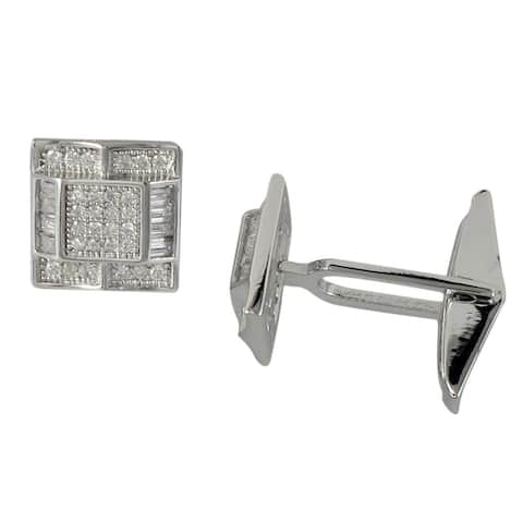 Luxiro Sterling Silver Men's Micro-pave Cubic Zirconia Modern Raised Square Cufflinks