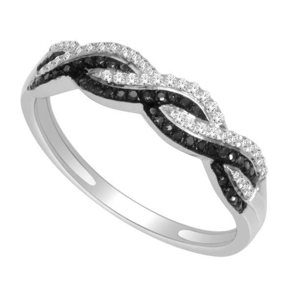De Couer 10k White Gold 1/5ct TDW Black and White Diamond Ring