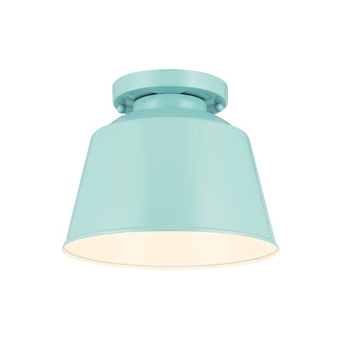 Feiss Freemont 1 - Light Semi Flush Mount, Hi Gloss Blue