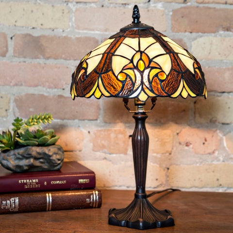 """16""""H Stained Glass Halston Table Lamp"""