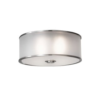 Casual Luxury Brushed Steel 2-light Flush Mount Fixture