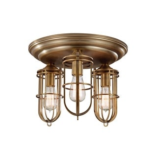 Urban Renewal Dark Antique Brass 3-light Flush Mount Fixture