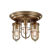 Feiss Urban Renewal 3 - Light Urban Renewal Flushmount, Dark Antique Brass