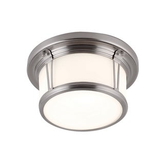 Feiss Woodward 2 - Light Woodward Flushmount, Brushed Steel
