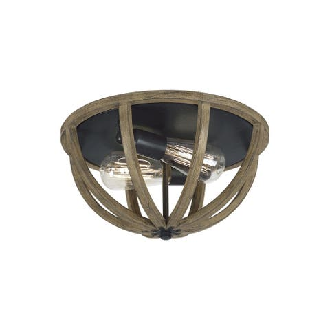 Feiss Allier 2 - Light Flushmount, Weathered Oak Wood / Antique Forged Iron